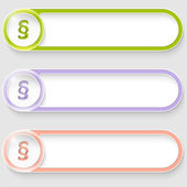 Set of three vector abstract buttons with paragraph — Stock vektor