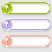 Set of three vector abstract buttons with exclamation mark — Stock Vector