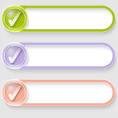 Set of three vector abstract buttons with check box — Stock Vector