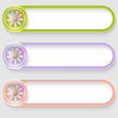 Set of three vector abstract buttons with flowers — Stock Vector