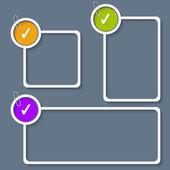 Ensemble de trois cadre blanc pour n'importe quel texte avec case à cocher et à l'épreuve c — Vecteur