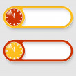 Set of two vector abstract buttons with clock — 图库矢量图片