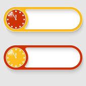 Zestaw dwa przyciski streszczenie wektor zegar — Wektor stockowy