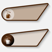 Set of two brown box for text and cup of coffee — Cтоковый вектор