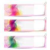 Set of three vector abstract banners and notepaper — Stock Vector