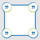 Herhangi bir metin ve tırnak işareti mavi metin kutusu — Stok Vektör