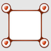 Red frame for any text and four hearts — Vecteur
