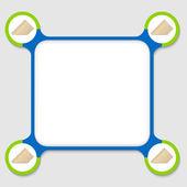 蓝、 绿四个信封的任何文本框架 — 图库矢量图片