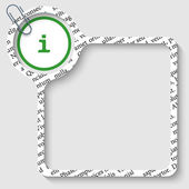 Vector box for any text with info sign and paper clip — Stock Vector