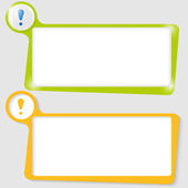 Set of two text boxes for text with the exclamation mark — Stock Vector