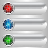 Set of three silver buttons with diagrams — Stockvector