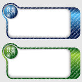 Set of two abstract text frames with percent sign — Stock Vector