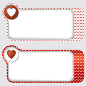 Set of two abstract text frames with heart and texture of hearts — Stock Vector