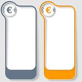 Zestaw dwóch wektor pola tekstowe ze znakiem euro — Wektor stockowy