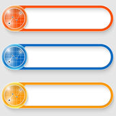 Set of three vector abstract buttons with graph — Vecteur