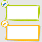 Set of two text boxes for text with the spanner — Stock Vector