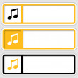 Set of three boxes for any text with music icon — Stock Vector