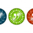 Set of three colored icons with quotation mark — Stock Vector #44382175