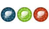 Set of three colored icons with speech bubble — Wektor stockowy