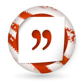 Red abstract icon with paper and quotation mark — ストックベクタ