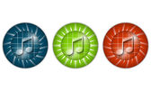 Set of three colored icons with music icon — Stock Vector