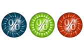 Set of three colored icons with percent sign — Stock Vector
