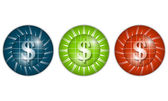 Set of three colored icons with dollar sign — Stock Vector