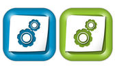 Set of two icons with paper and cogwheels — Stock Vector