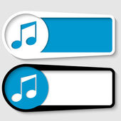 Set of two boxes for any text with music icon — Vector de stock