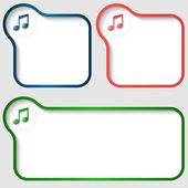 Set of three vector text frame with music icon — Stock Vector