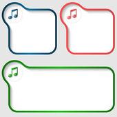 Sada tří vektorové textového rámečku s hudební ikonou — Stock vektor