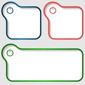 Set of three vector text frame with power buton — Vector de stock