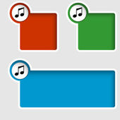 Set of three text boxes with music icon — Stock Vector