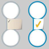 用纸笔记和两个圆形的区域,用于输入 te 的对象 — 图库矢量图片