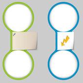 Objeto con papel de notas y dos área circular para entrar te — Vector de stock