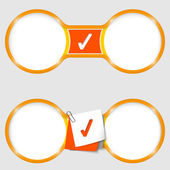 Two circles for text with an check box — Stock Vector