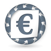 Vector abstract icon with arrows and euro sign — Stockvector