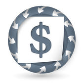 Vector abstract icon with arrows and dollar sign — Stockvector