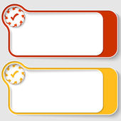 Set of two abstract text boxes with arrows and check box — Vector de stock