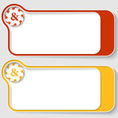 Set of two abstract text boxes with arrows and ampersand — Stock Vector