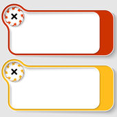 Set of two abstract text boxes with arrows and ban sign — Stock Vector