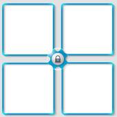 Four vector associated text frames with padlock — Stock Vector