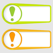 Set of two boxes for entering text with exclamation mark — Stock Vector