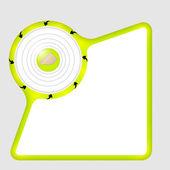 封筒と矢印の付いた緑色の抽象的なボックス — ストックベクタ