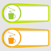 Set of two boxes for entering text with cup of coffee — Stock Vector