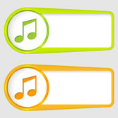Set of two boxes for entering text with music icon — Stok Vektör