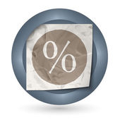 Dark abstract icon with crumpled paper and percent sign — Stock Vector