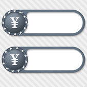 Set of two vector buttons with arrows and yen sign — Stock Vector