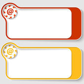 Set of two abstract text boxes with arrows and email icon — Stockvector