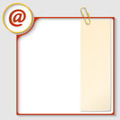Red frame for text with a email icon and notepaper — Stock Vector